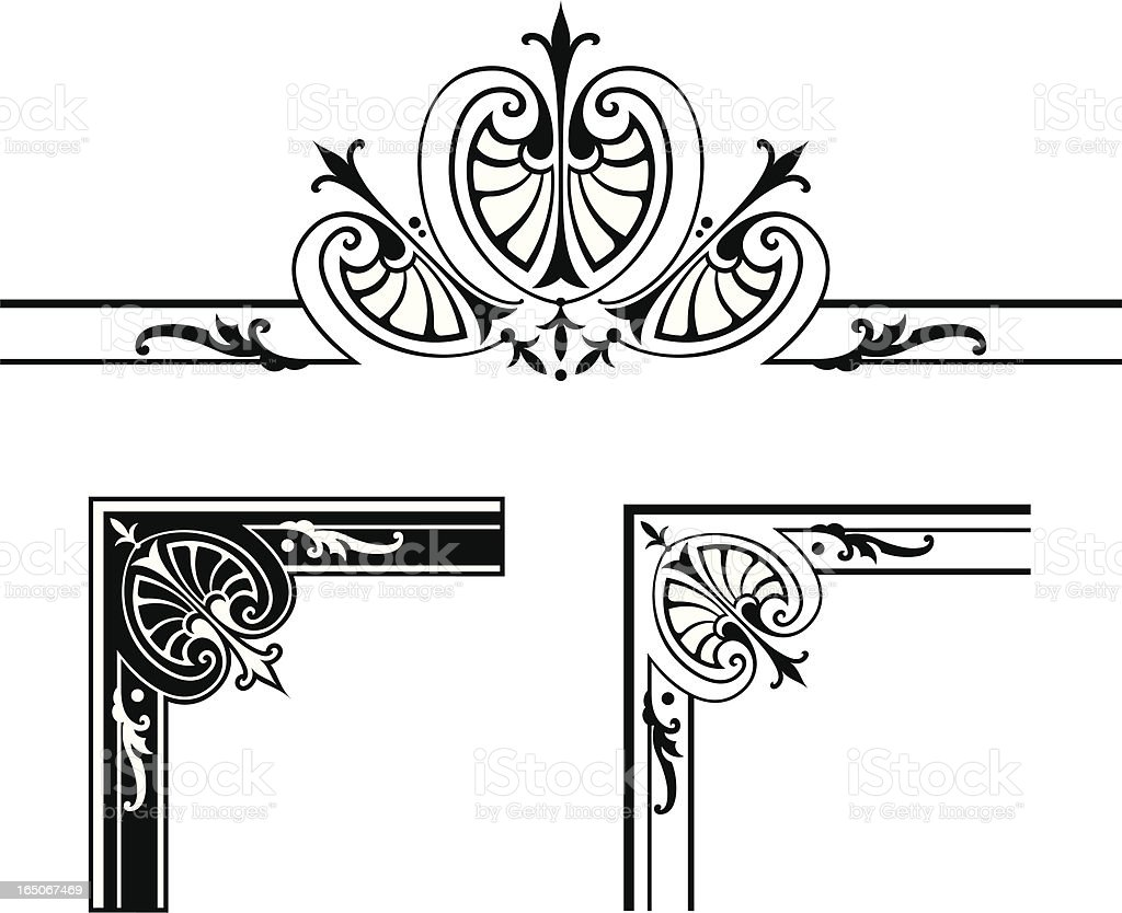Corner Designs And Centre Scroll Design Royalty Free Stock