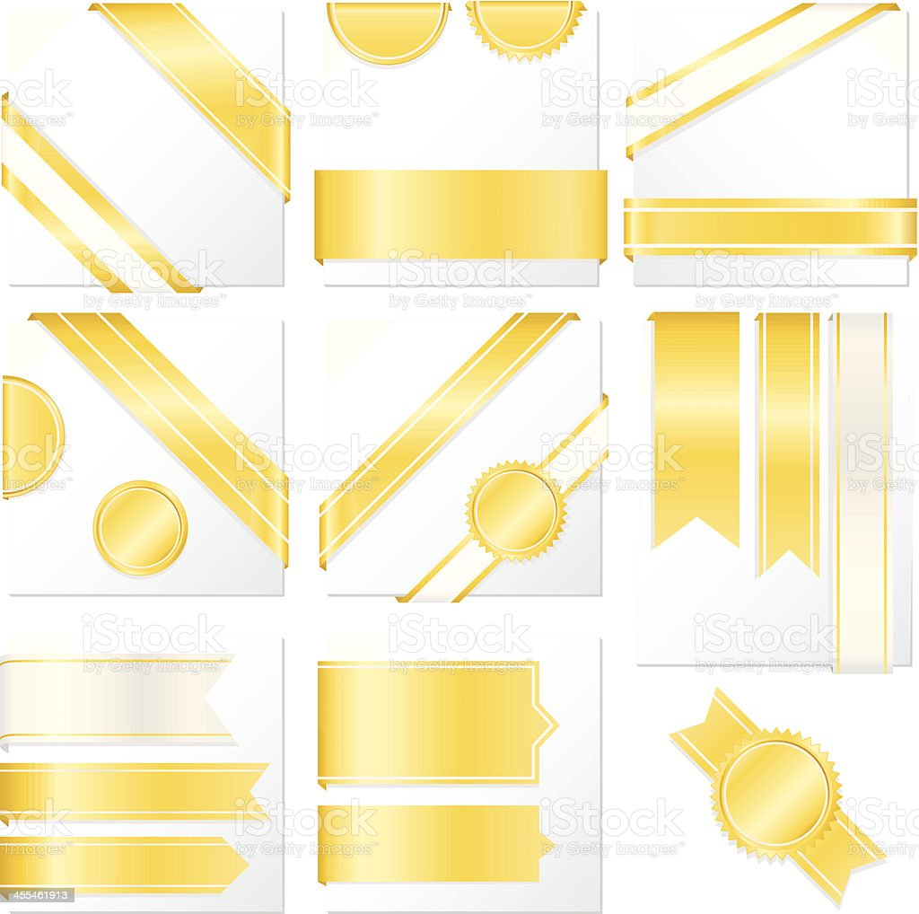 Corner, Edge Ribbons, Labels, Banners, Stickers Set: Shiny Yellow Gold royalty-free stock vector art