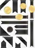 Corner, Edge Ribbons, Labels, Stickers Set: Shiny Black Satin, Gold