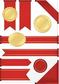 Red corner ribbons, edge ribbons, labels, banners. OPTIONAL stickers.