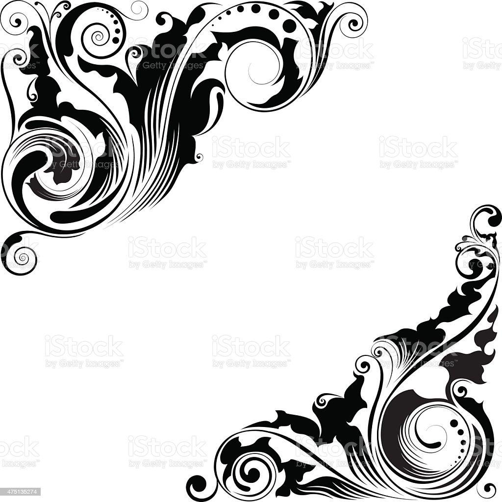 corner floral design stock vector art amp more images of