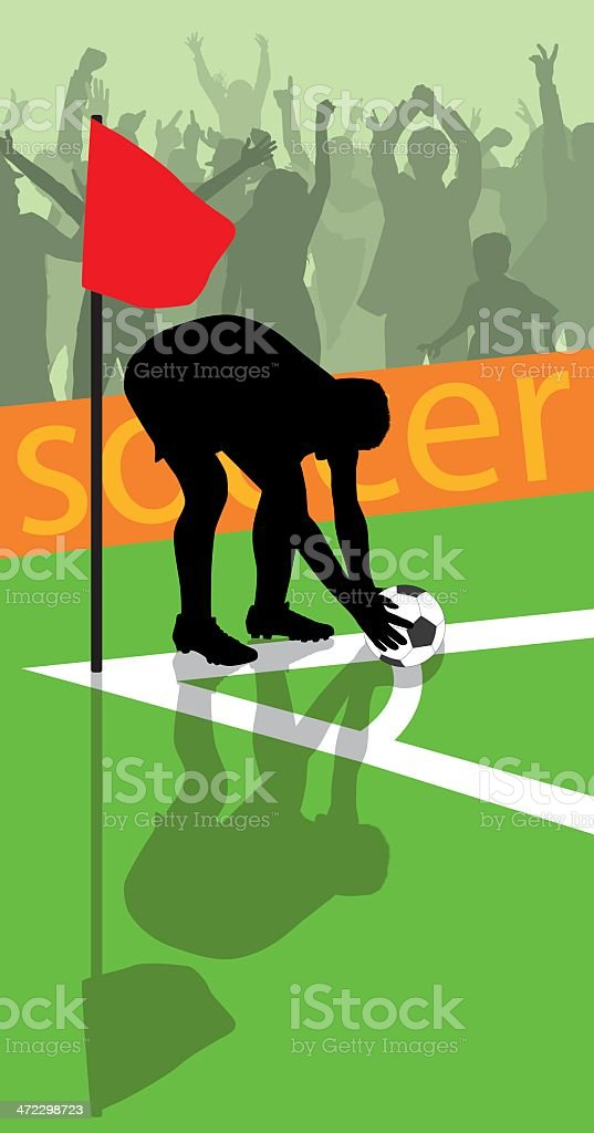 corner kick vector art illustration