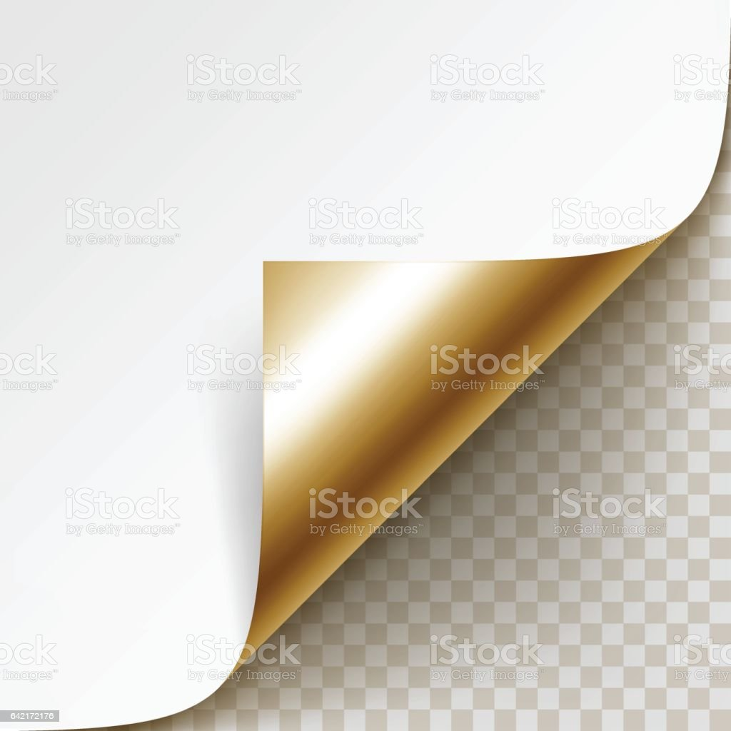 Corner of White Paper with Shadow Isolated on Background vector art illustration