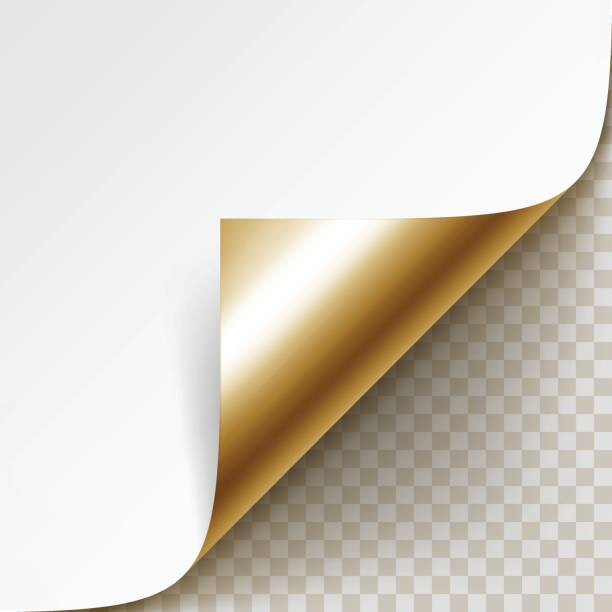 corner of white paper with shadow isolated on background - aluminum foil roll stock illustrations, clip art, cartoons, & icons