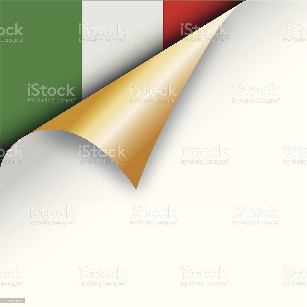 Corner page turn - Italian flag royalty-free stock vector art