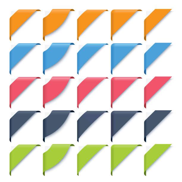 corner ribbons set vector art illustration