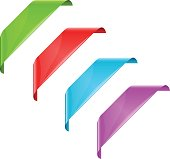 Corner ribbons colorful labels set