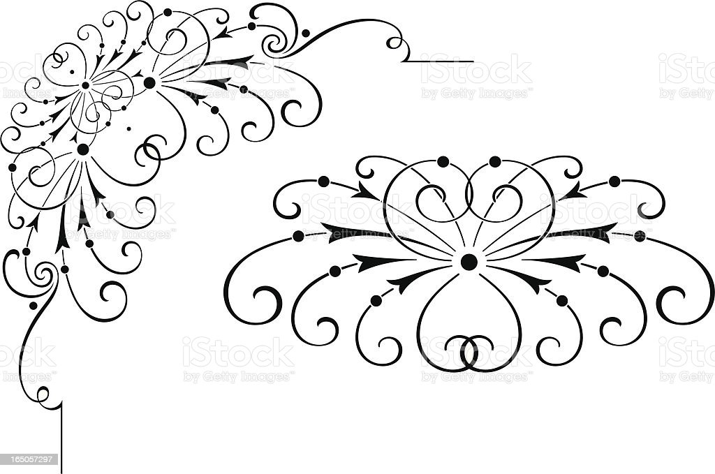 Corner Scroll and Centre Design vector art illustration