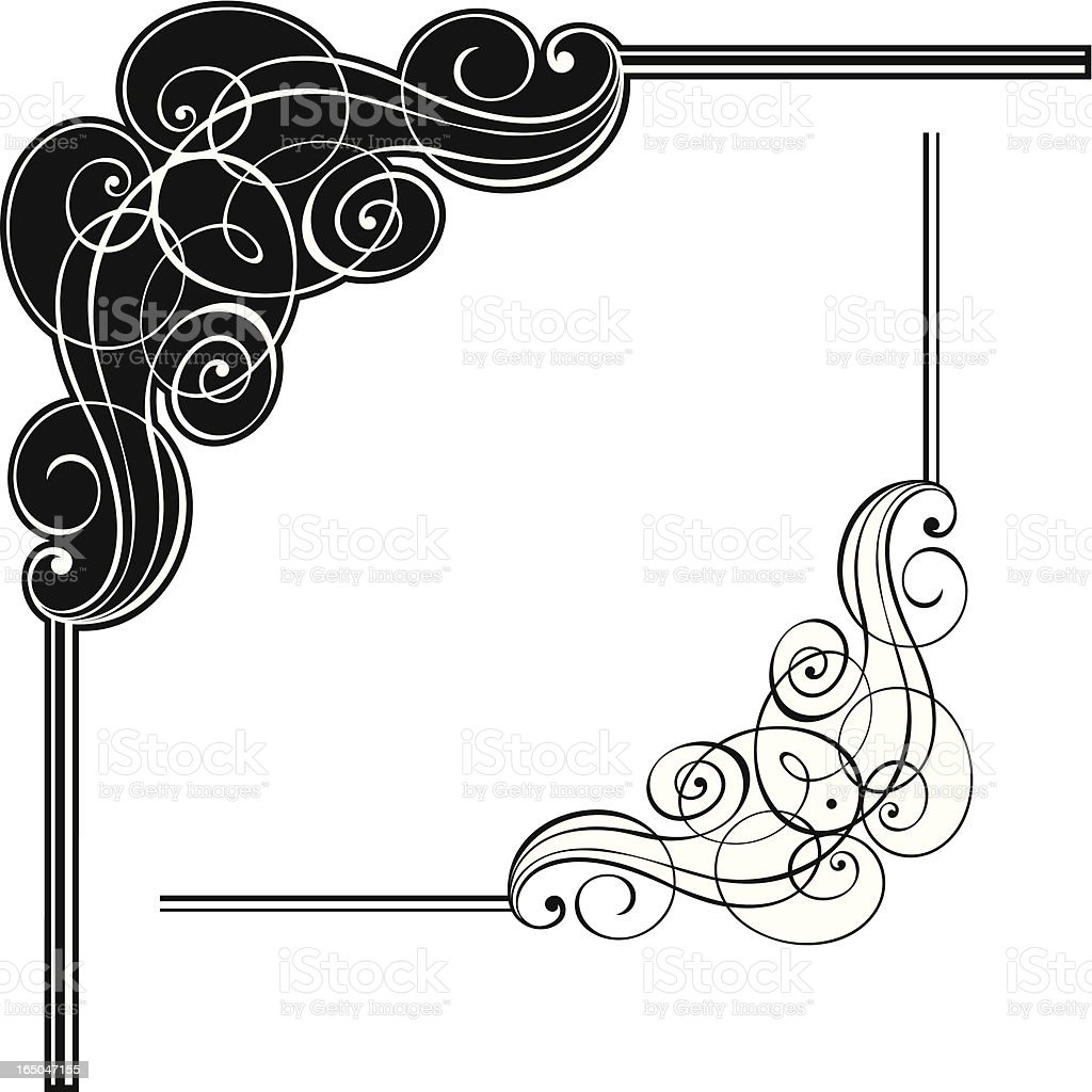 Corner scroll design vector art illustration