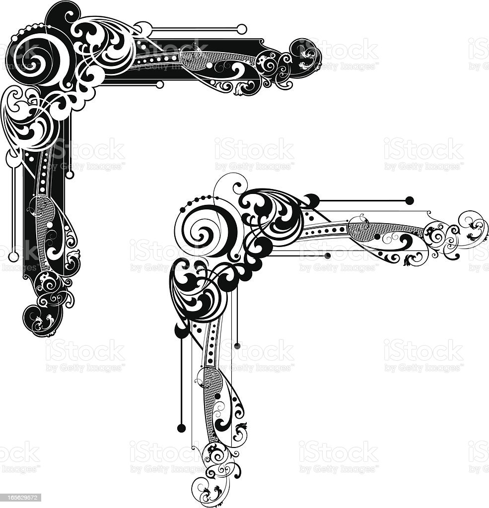 Antique Scroll Vector: Corner Scroll Design Stock Vector Art & More Images Of