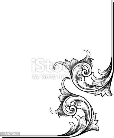 A true hand engraving scrollwork designed for page corners. Can also be used elsewhere. Highly detailed with fine shading and can be easily modified with the enclosed EPS and Illustrator CS2 files. This is a vector illustration and can be scaled to any size.