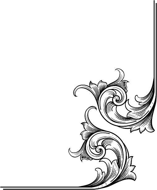 ilustrações, clipart, desenhos animados e ícones de ornamento de canto - bordas florais