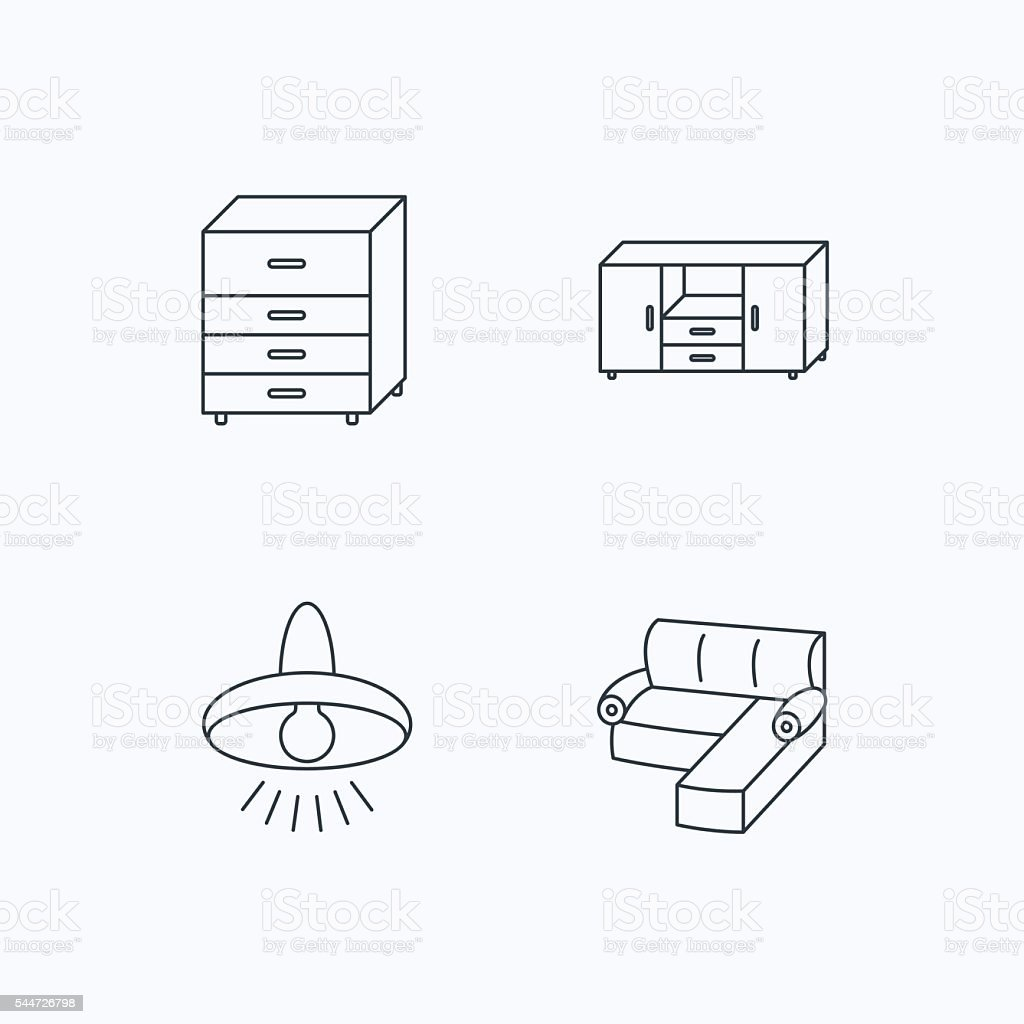 Corner Sofa Ceiling Lamp And Chest Icons Stock Vector Art More