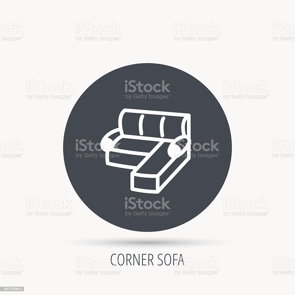Corner Sofa Icon Comfortable Couch Sign Stock Vector Art More