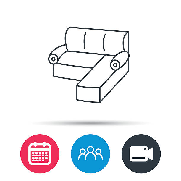 Corner Sofa Icon Comfortable Couch Sign Stock Vector Art More