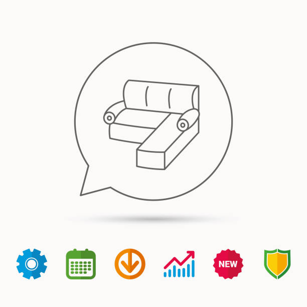 ecksofa-symbol. bequeme couch unterschreiben. - funktionssofa stock-grafiken, -clipart, -cartoons und -symbole