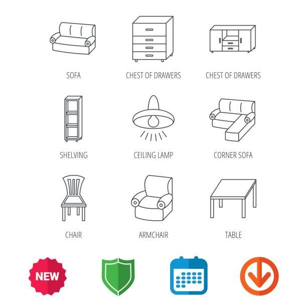 corner-schlafsofa, tisch und sessel symbole. - gartensofa stock-grafiken, -clipart, -cartoons und -symbole
