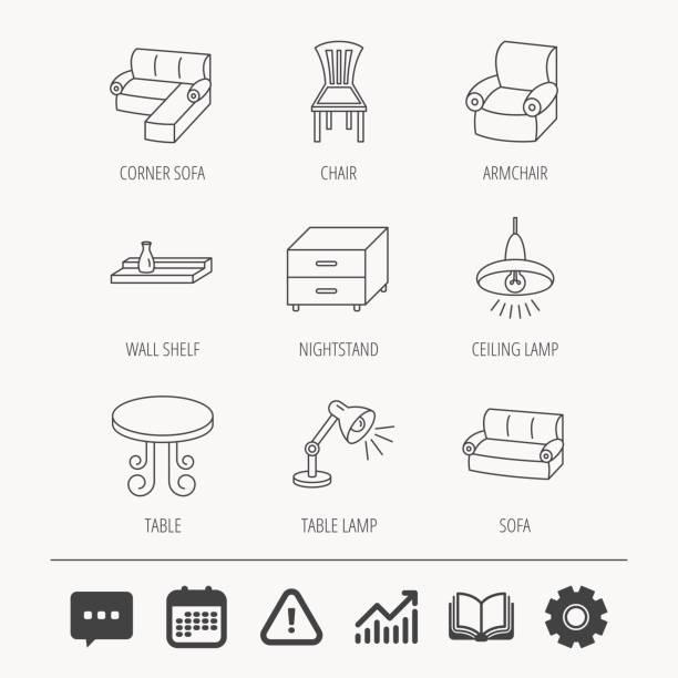 corner-schlafsofa, tisch und sessel symbole. - funktionssofa stock-grafiken, -clipart, -cartoons und -symbole