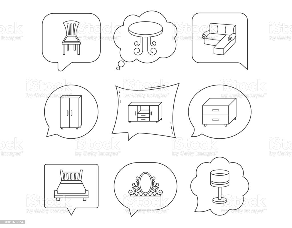 Corner Sofa Table And Cupboard Icons Stock Vector Art More Images