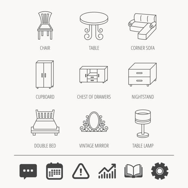corner-schlafsofa, tisch und schrank symbole. - funktionssofa stock-grafiken, -clipart, -cartoons und -symbole