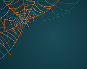 Spooky Halloween corner spiderweb with space for copy.