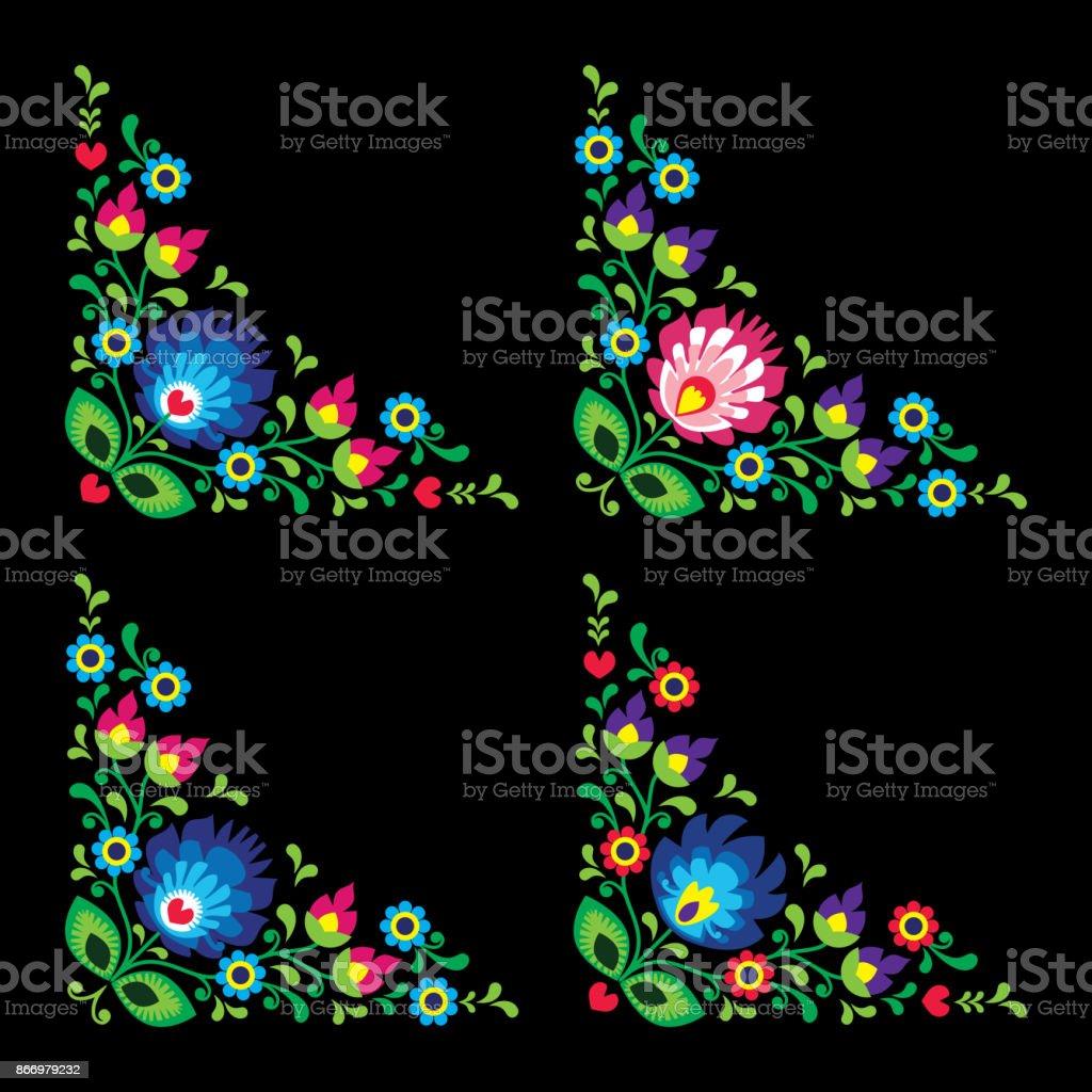 Corners border Polish floral folk art vector pattern - Wzory Lowickie, traditional designs vector art illustration