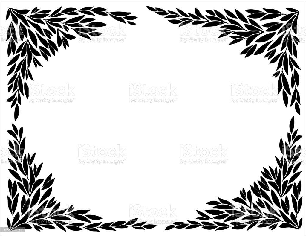 Hörn för bildrutorna i leaf silhuetter vektorkonstillustration