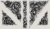 Decorative ornate design elements, layered vector artwork