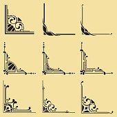 An a Vector Illustration of the corner - set of nine corner.