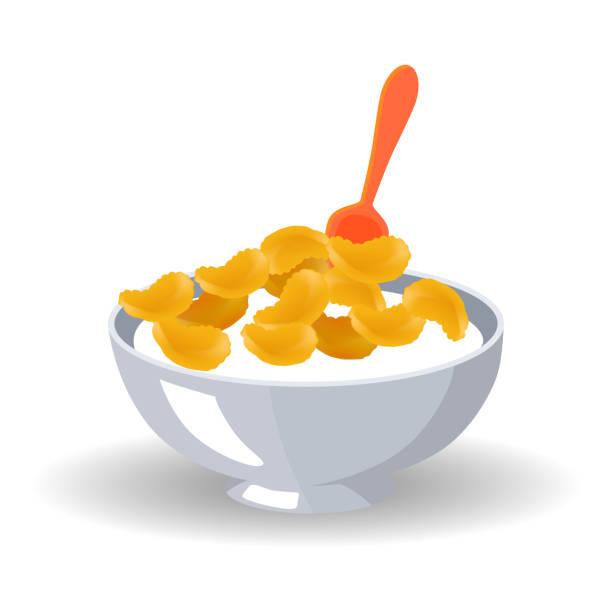 illustrazioni stock, clip art, cartoni animati e icone di tendenza di cornflake cereals in bowl with milk and spoon - corn flakes