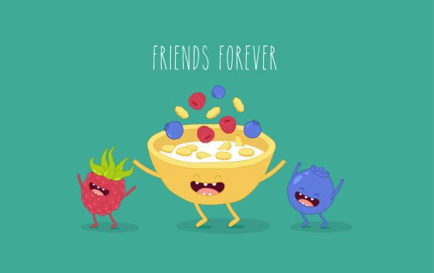 illustrazioni stock, clip art, cartoni animati e icone di tendenza di cornflakes blueberry raspberry - corn flakes