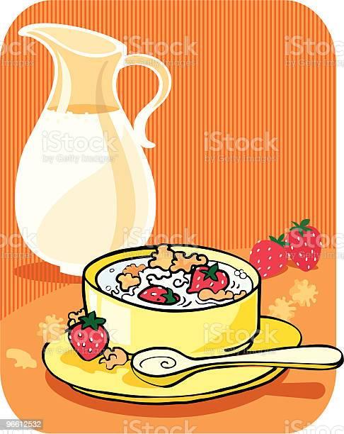 Cornflakes На Завтрак — стоковая векторная графика и другие изображения на тему Ёмкость для молока