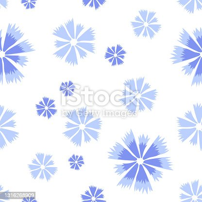 Cornflower seamless pattern of blue flowers, abstract vector floral print. Seamless simple blue white knapweed pattern