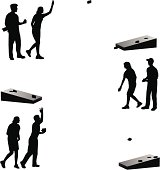 People playing bean bag toss. Files included – jpg, ai (version 8 and CS3), and eps (version 8)