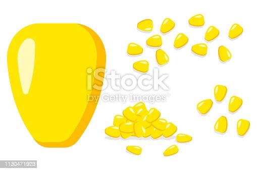 Corns seed vector cartoon flat icons set.