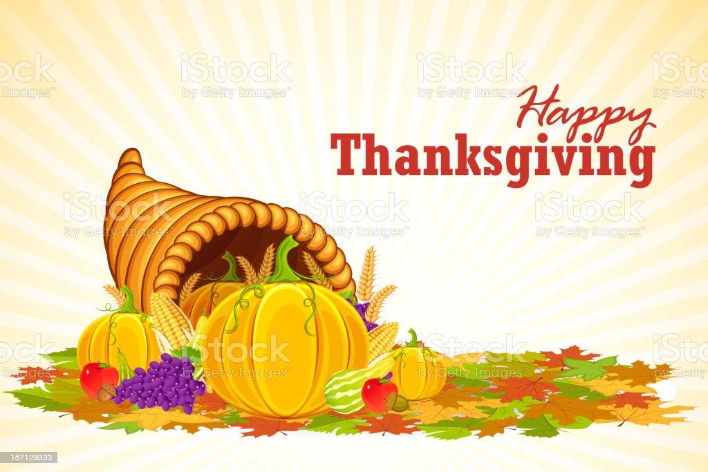 Cornucopia filled with vegetable for Thanksgiving vector art illustration