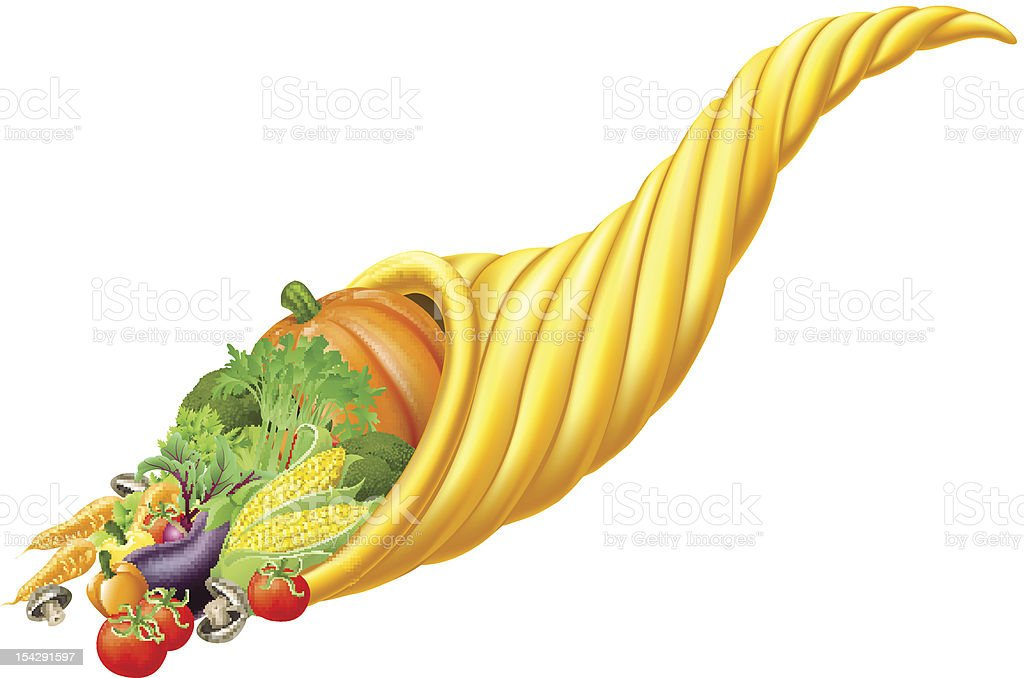 Cornucopia horn full of fresh produce food royalty-free stock vector art