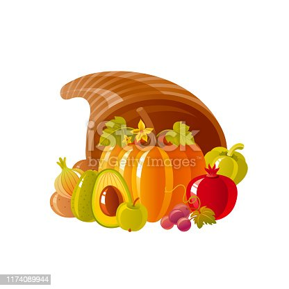 istock Cornucopia horn of plenty. Fruit vegetable basket. Autumn fall icon for harvest festival or thanksgiving day. 3d Cartoon autumn vector illustration with vegetable Fall Isolated on white background 1174089944
