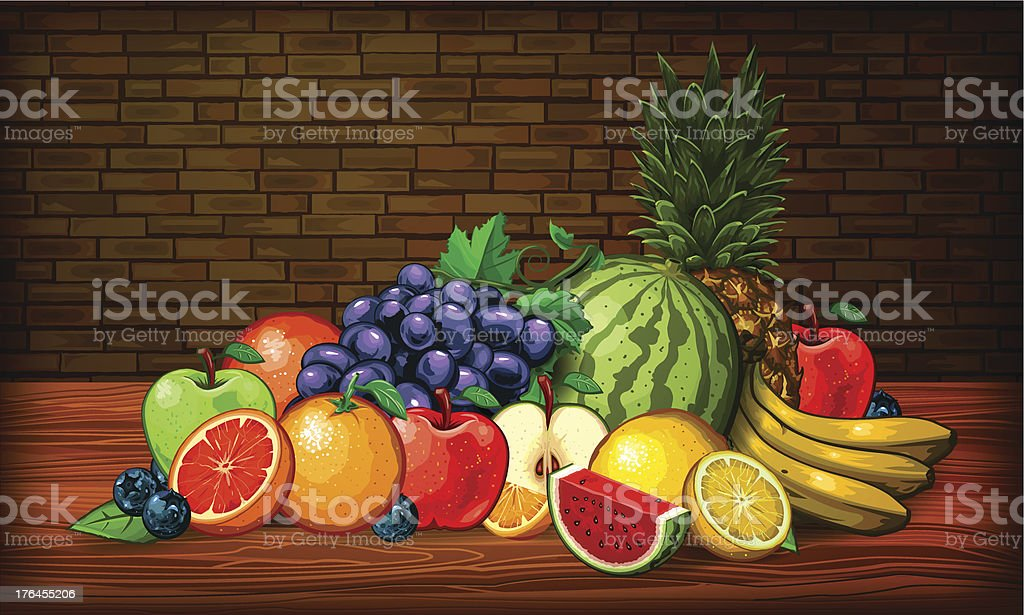 Cornucopia of Fruit vector art illustration