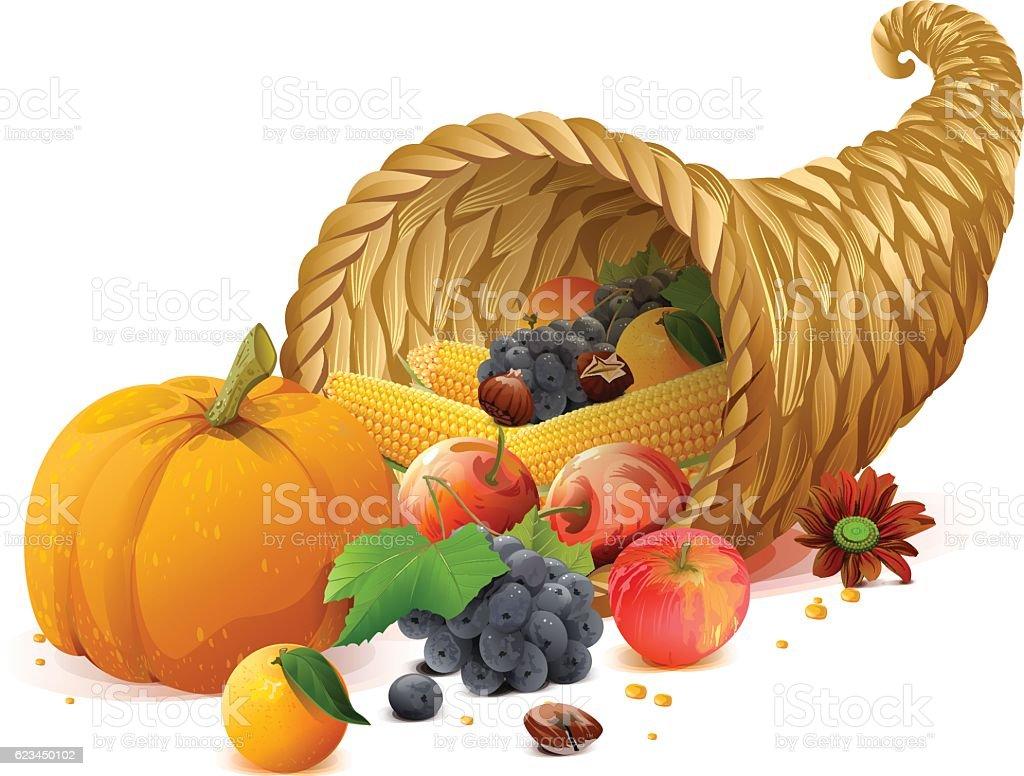 Cornucopia rich harvest on day of Thanksgiving vector art illustration