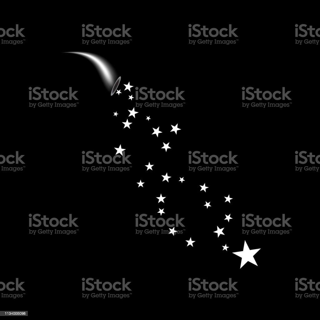 A cornucopia shoots a white star. Fireworks star random source of...