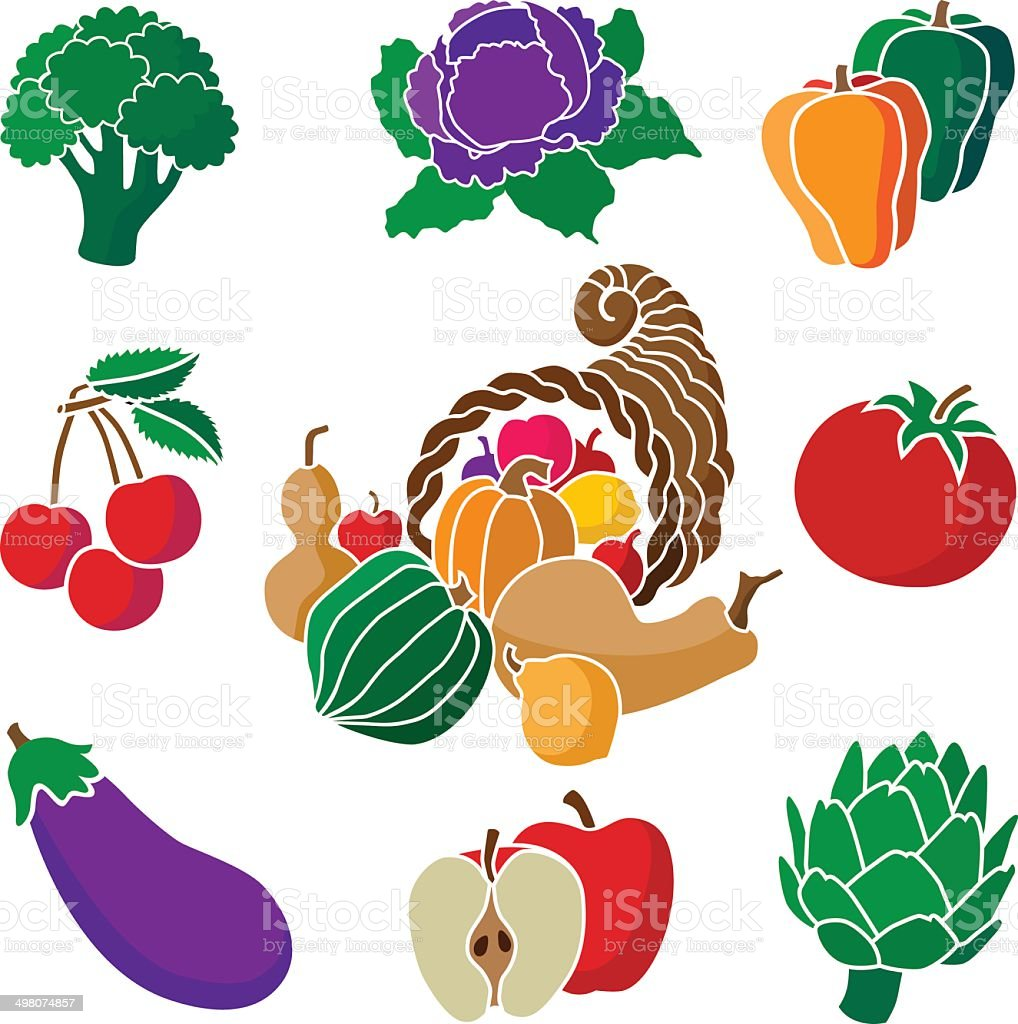 cornucopia with fruits and vegetables vector art illustration