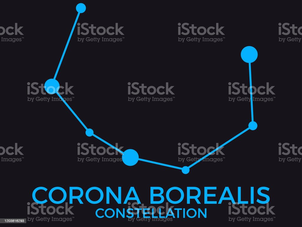 Corona Borealis Constellation Stars In The Night Sky Cluster Of Stars And Galaxies Constellation Of Blue On A Black Background Vector Illustration Stock Illustration Download Image Now Istock