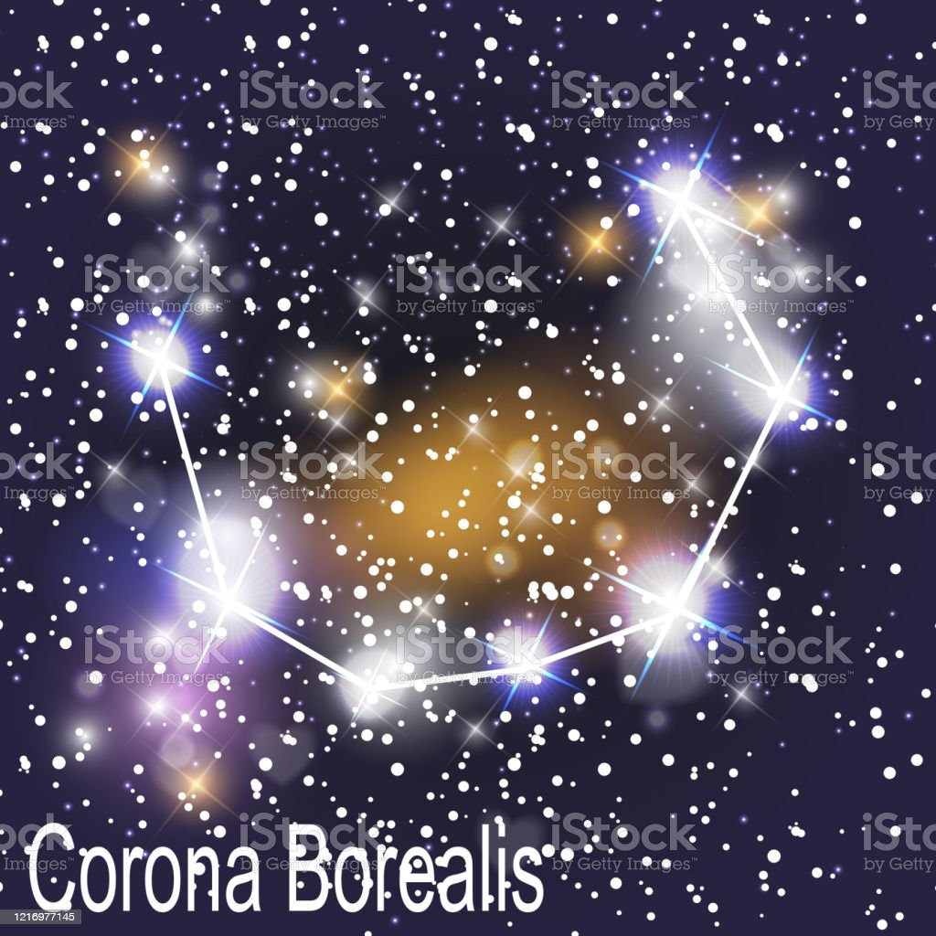 Corona Borealis Constellation With Beautiful Bright Stars On The Background Of Cosmic Sky Vector Illustration Stock Illustration Download Image Now Istock