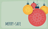 Corona Christmas concept. Flat cartoon xmas balls with Coronavirus icon concept merry and safe design card Contagious diseases of the characters when exposed to a virus vector illustration