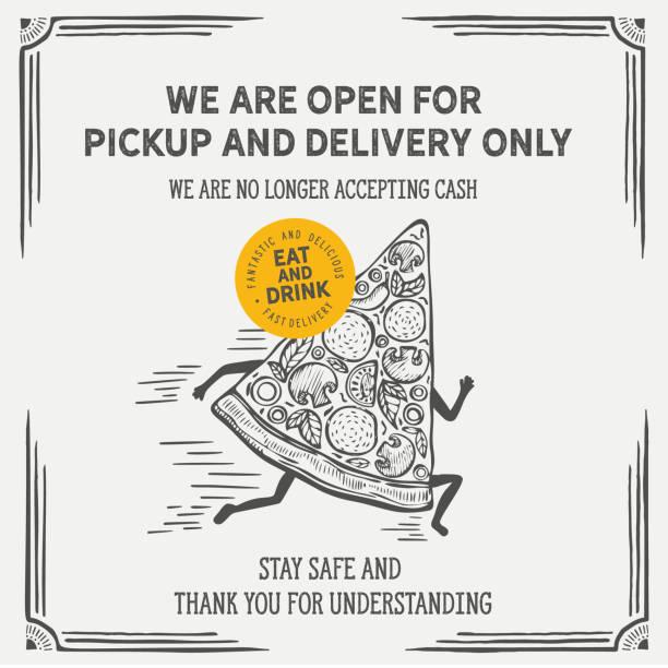 ilustrações de stock, clip art, desenhos animados e ícones de corona virus 2020. restaurant poster open only for delivery and takeout orders. - covid restaurant