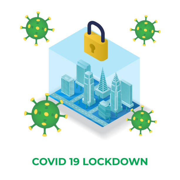 stockillustraties, clipart, cartoons en iconen met corona virus 2020. wuhan virusziekte, virusinfecties preventie methoden infographics.lock down de stad isometrische illustratie - lockdown
