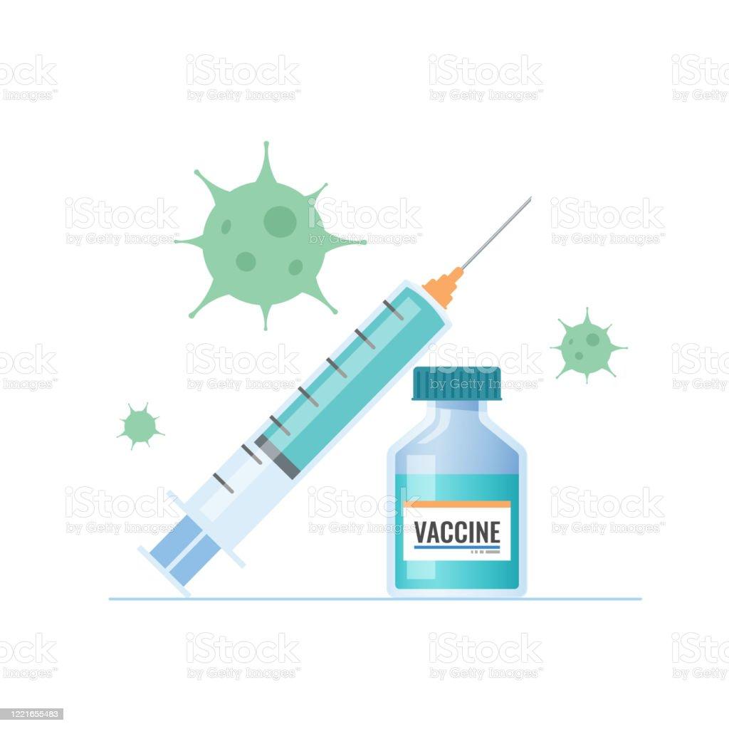 코로나 바이러스 covid-19 백신, 주입, 백신 병, 벡터 일러스트레이션 - 로열티 프리 0명 벡터 아트