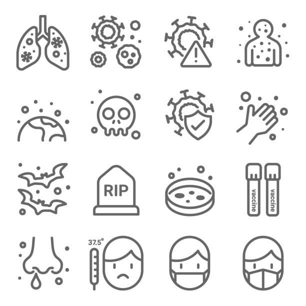 stockillustraties, clipart, cartoons en iconen met corona virus pictogrammen set vector illustratie. bevat een pictogram als longontsteking, vaccin, masker, koorts en meer. uitgevouwen lijn - tears corona