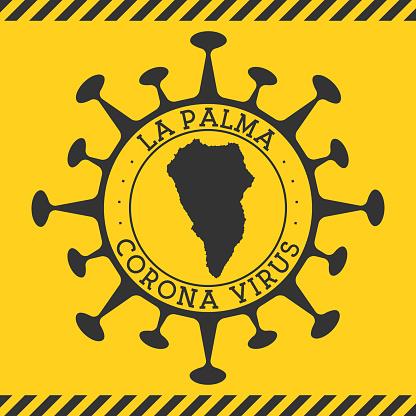 Corona virus in La Palma sign.